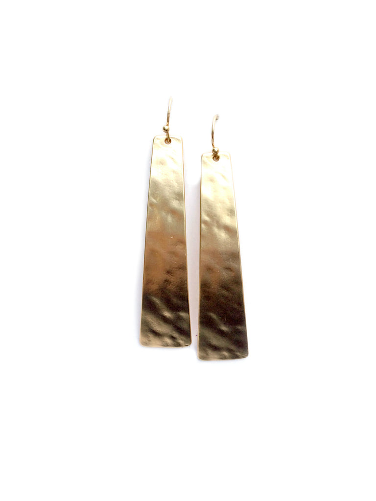 Hammered Statement Earrings | Silver Gold Bar Dangles | Light Years