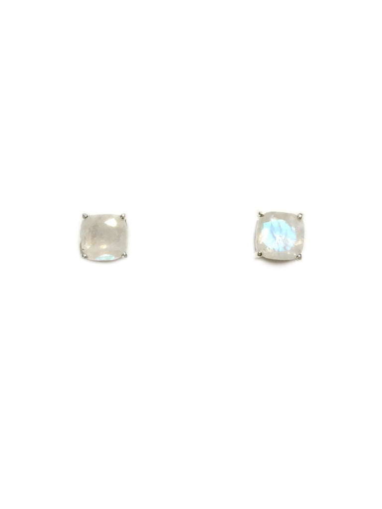 Cushion Cut Moonstone Posts | Sterling Silver Stud Earrings | Light Years