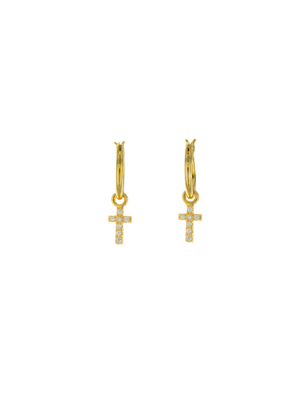 Clear CZ Cross Hoops | Gold Plated Earrings | Light Years Jewelry