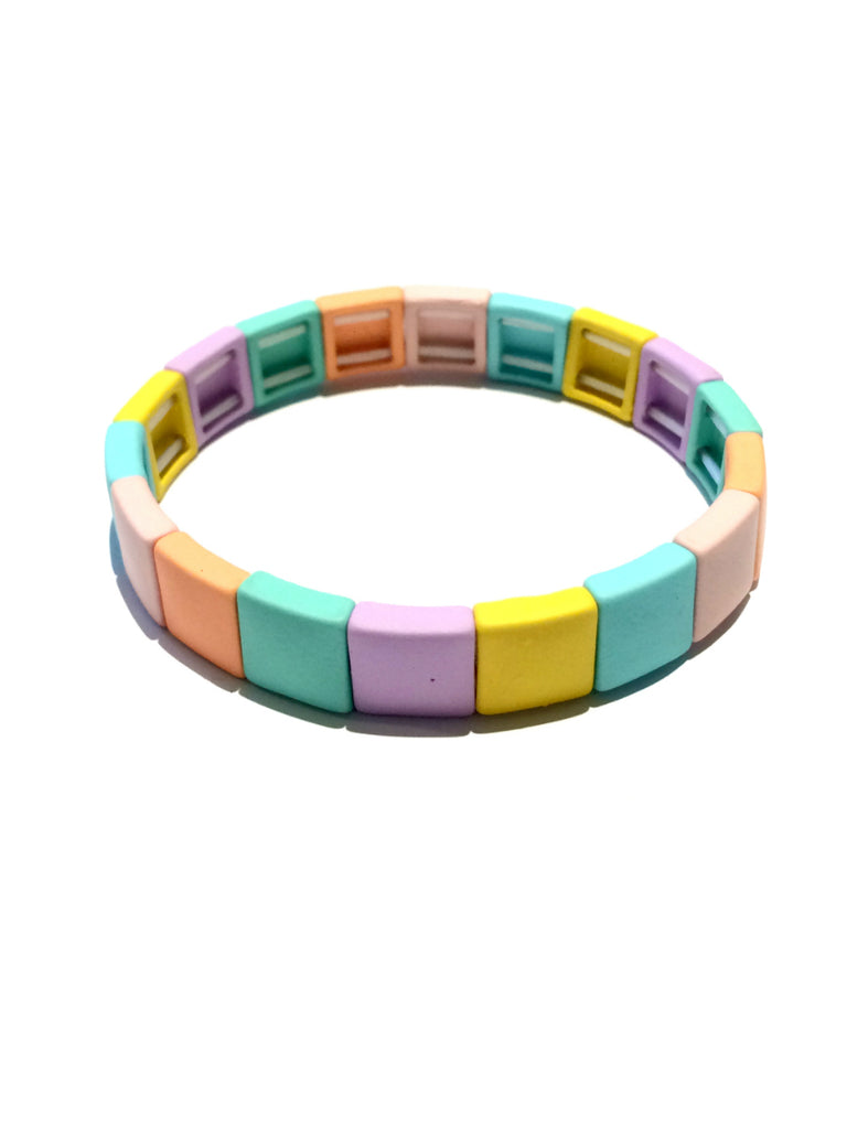 Multi Color Block Bracelet | Pastel Stretch Cuff | Light Years Jewelry