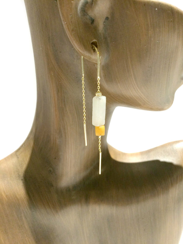Gemstone Ear Thread Dangles | Amazonite | Gold Silver Plated Earrings | Light Years