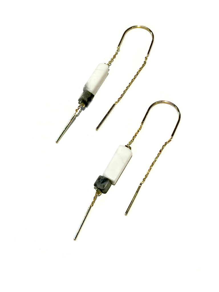 Gemstone Ear Thread Dangles | Howlite | Gold Silver Plated Earrings | Light Years