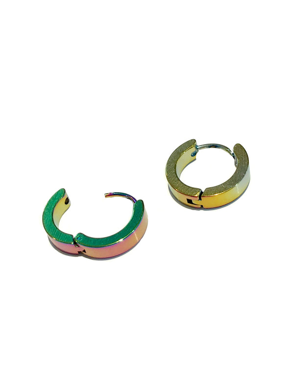 Rainbow Steel Huggie Hoops | Stainless Steel Earrings | Light Years