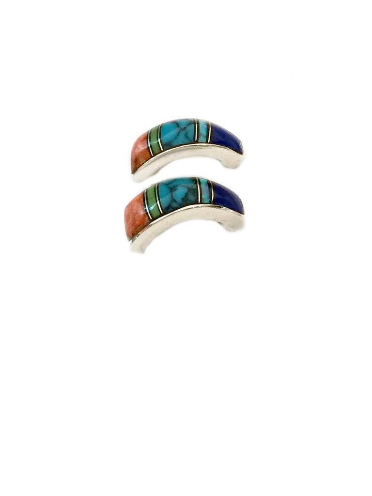 Multistone Inlay Posts Hoops | Sterling Silver Earrings | Light Years