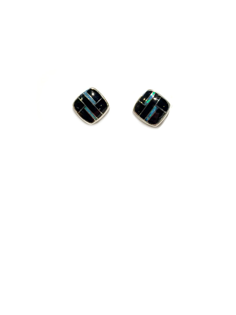 Onyx & Opal Inlay Posts | Sterling Silver Stud Earrings | Light Years