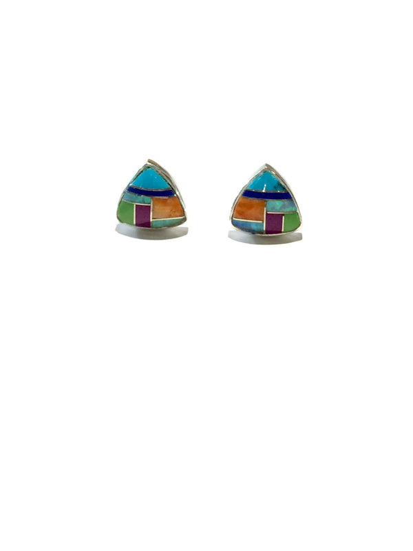 Stone Triangle Inlay Posts | Sterling Silver Stud Earrings | Light Years