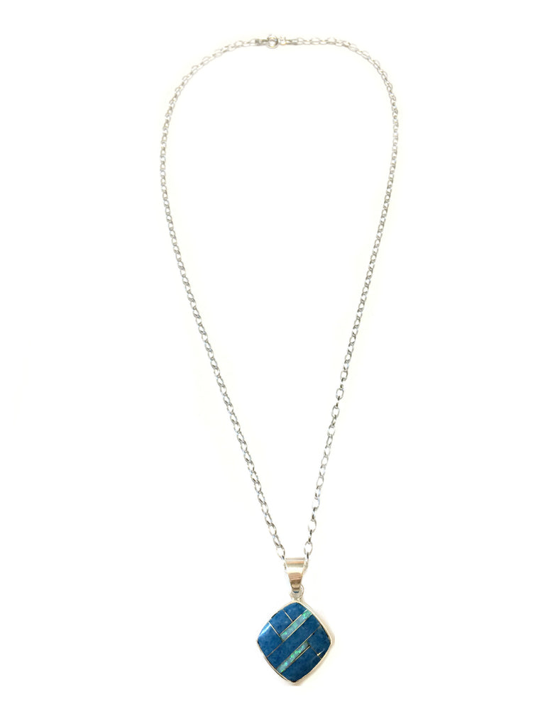 Lapis Opal Inlay Necklace | Sterling Silver Chain Pendant | Light Years