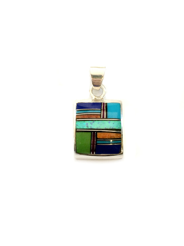 Multistone Inlay Pendant Necklace | Sterling Silver Chain | Light Years