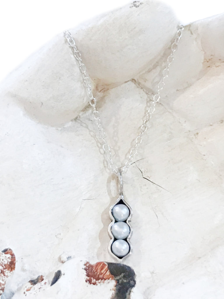 Pearls Pea Pod Necklace | Sterling Silver Chain Pendant | Light Years