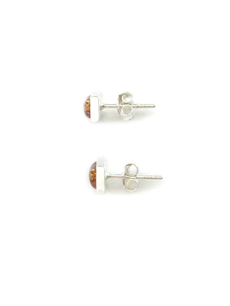Amber Diamond Posts | Sterling Silver Studs Earrings | Light Years