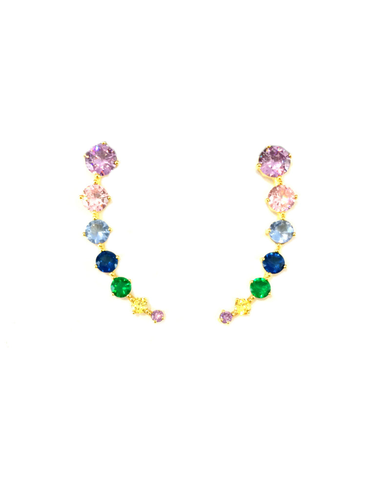 Jeweltone CZ Ear Climbers | Gold Vermeil Sterling Silver Dangles Earrings | Light Years