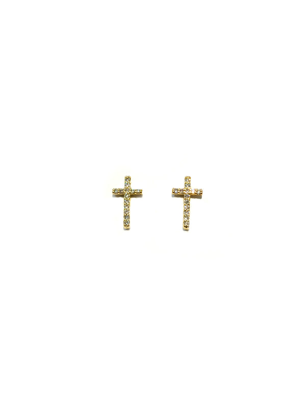 CZ Cross Posts | Gold Silver Studs Earrings | Light Years Jewelry