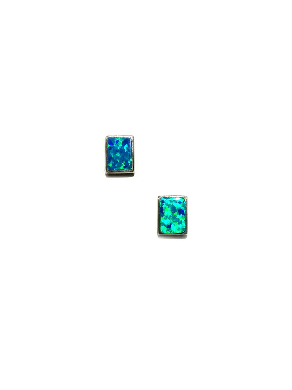 Opal Rectangle Posts | White Blue Studs Earrings | Light Years Jewelry