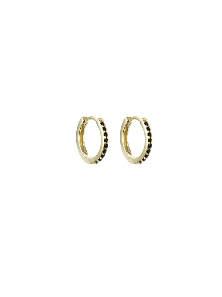 CZ Lined Huggie Hoops | Clear Emerald Green Black Earrings | Light Years