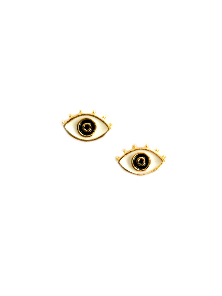 Enamel Eye Posts | Gold Plated Studs Earrings | Light Years Jewelry