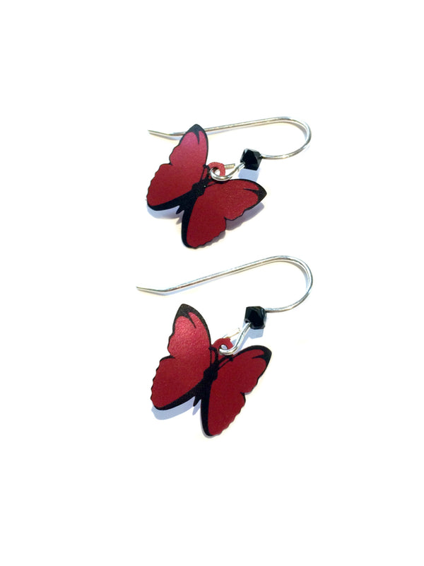 Red Lacewing Butterfly Dangles by Sienna Sky