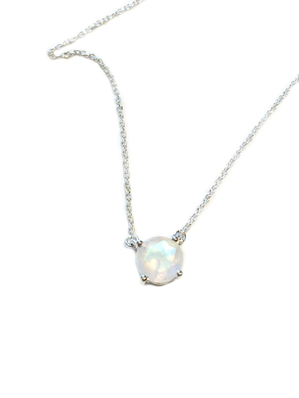 Cut Gemstone Necklace | Moonstone | Sterling Silver Chain Pendant | Light Years