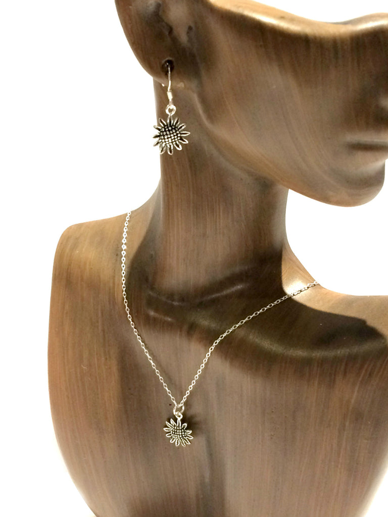 Sunflower Pendant Necklace | Sterling Silver Chain | Light Years Jewelry