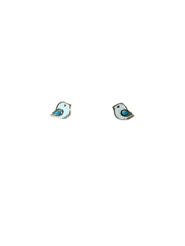 Blue Bird Enamel Posts | Sterling Silver Studs Earrings | Light Years