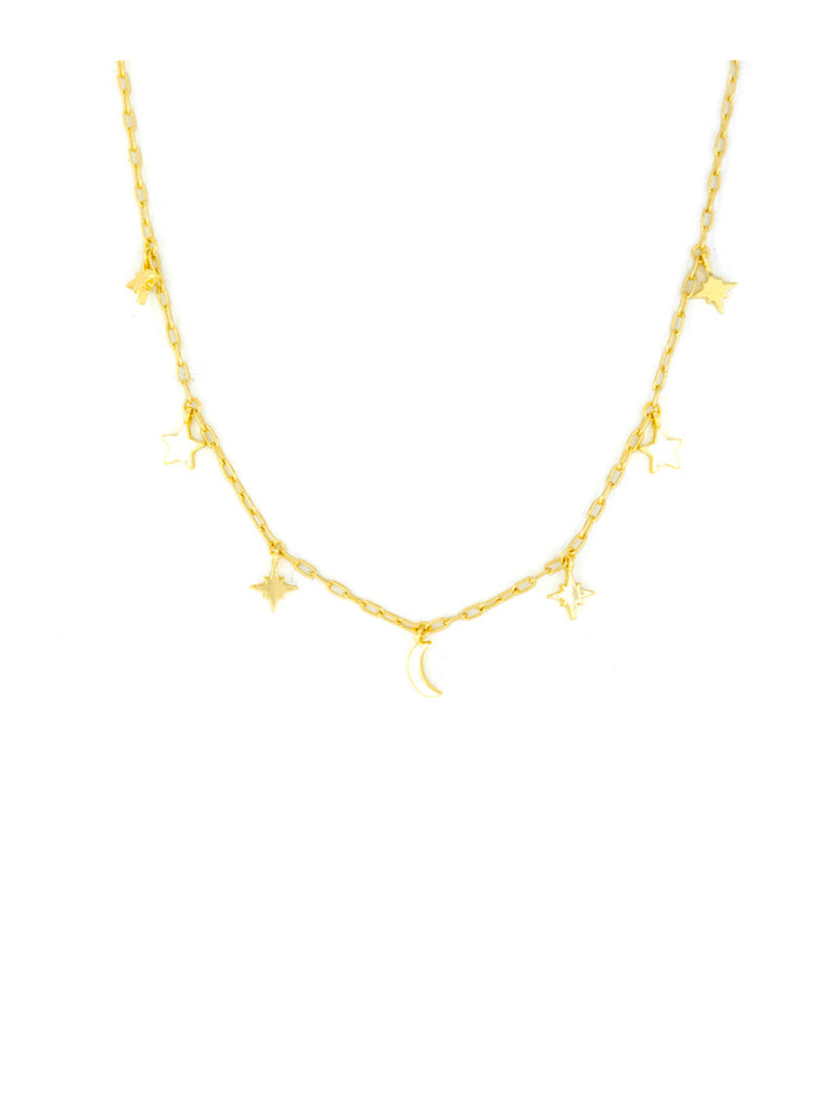 Celestial Moons Stars Charms Necklace | Gold Plated Chain | Light Years