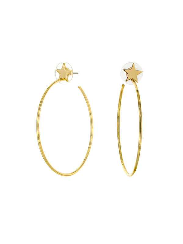 Star Post Hoops | Gold Plated Studs Earrings | Light Years Jewelry