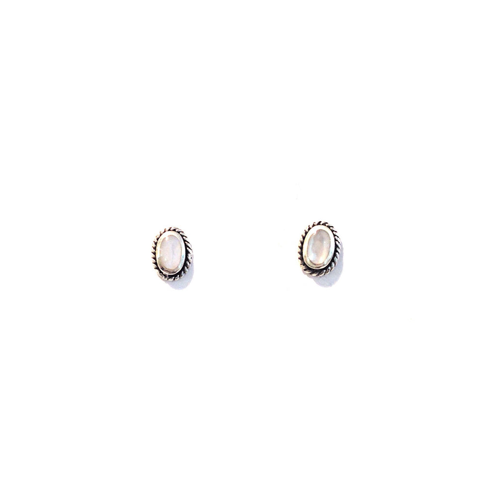 Oval Stone Posts, $9 | Mother of Pearl, Turquoise, Blue Lapis Studs