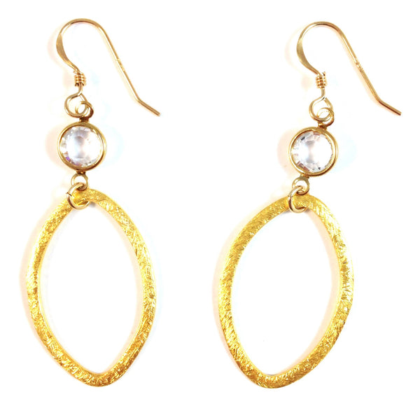 Oval And Clear Crystal Dangles, $22 | 14kt Gold-Filled Earrings | Light Years Jewelry
