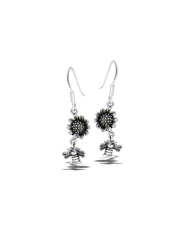 Sunflower & Honey Bee Dangles | Sterling Silver Earrings | Light Years