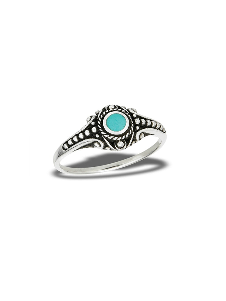 Ornate Turquoise Ring | Sterling Silver Band Size 6 7 8 9 | Light Years