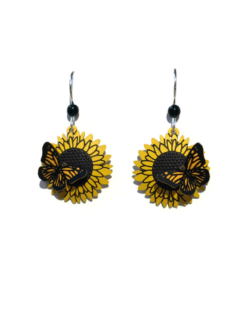 Monarch on Sunflower Earrings | Sterling Silver Dangles | Light Years