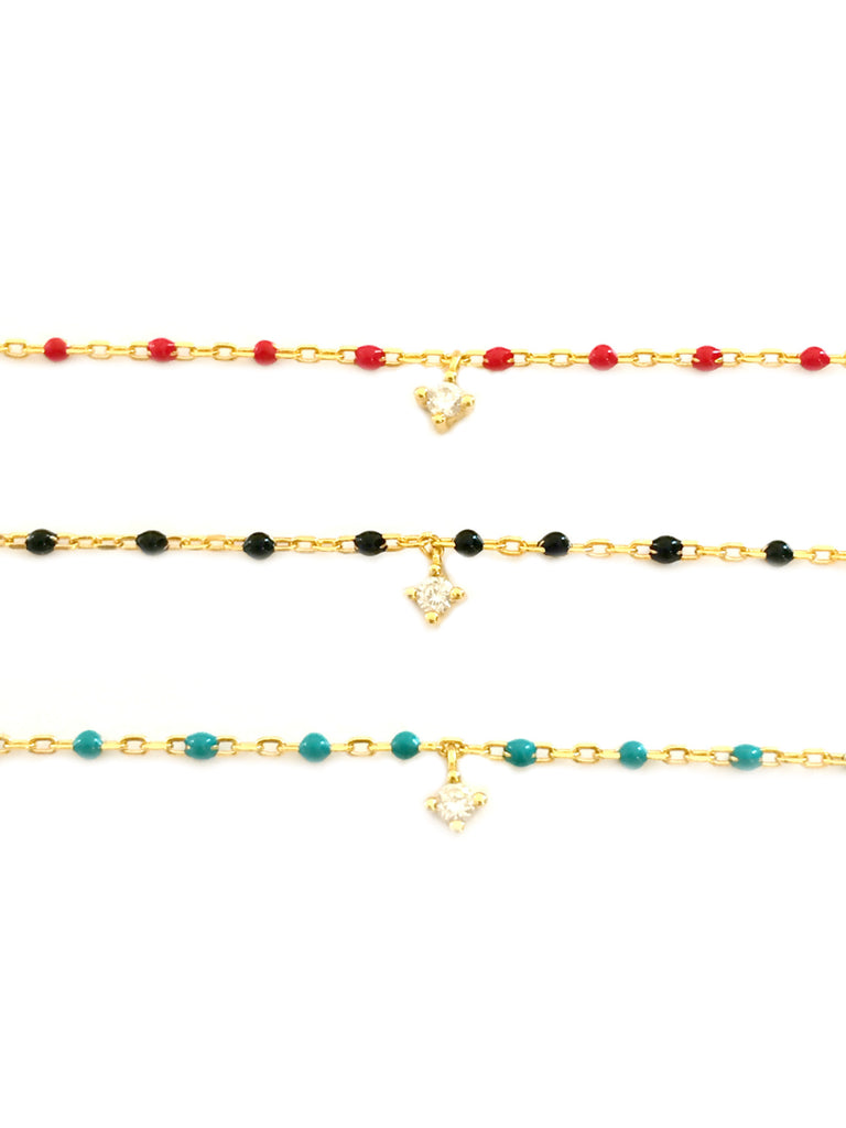 Gold Stone Beaded Bracelets | Black Blue Red Chain Vermeil | Light Years