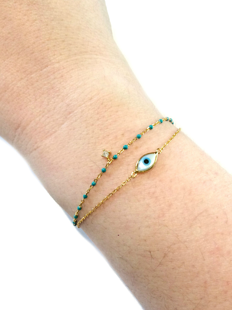 Mother of Pearl Eye Bracelet | Gold Vermeil Chain | Light Years Jewelry