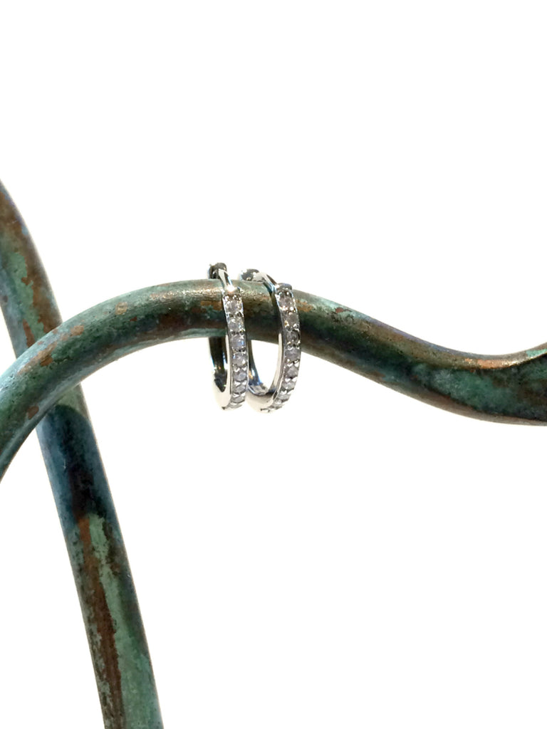 CZ Lined Huggie Hoops | Sterling Silver Earrings | Light Years Jewelry