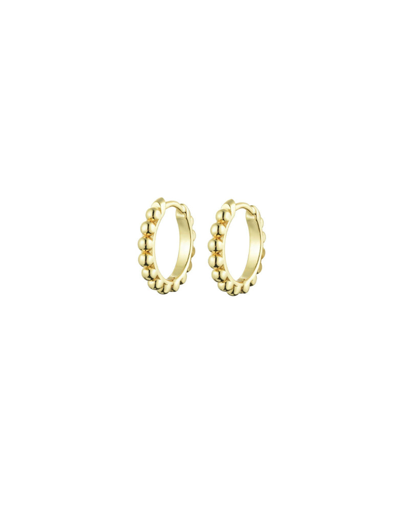 Ball Bead Huggie Hoops | Gold Vermeil Earrings | Light Years Jewelry