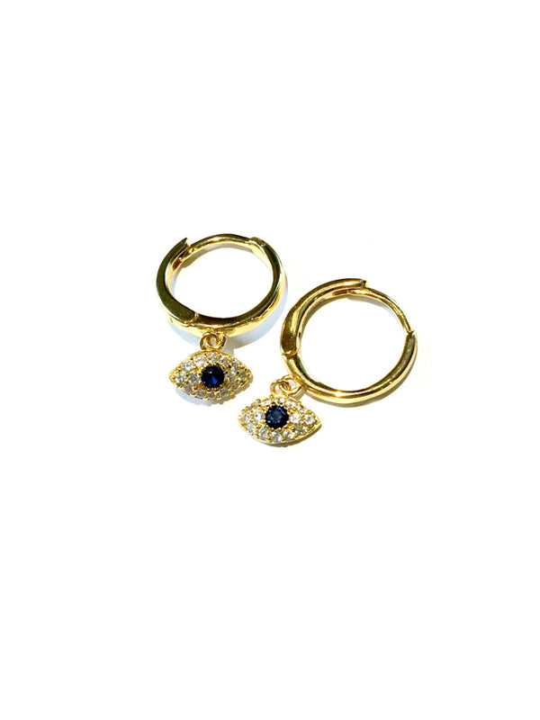 CZ Evil Eye Huggie Hoops | Gold Vermeil Earrings | Light Years Jewelry