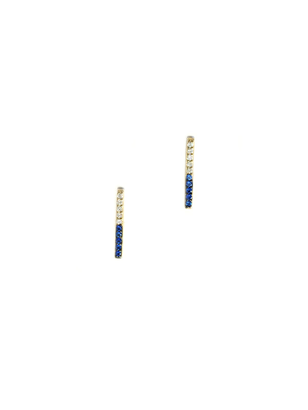 Two-tone CZ Bar Posts | Gold Vermeil Studs Earrings | Light Years