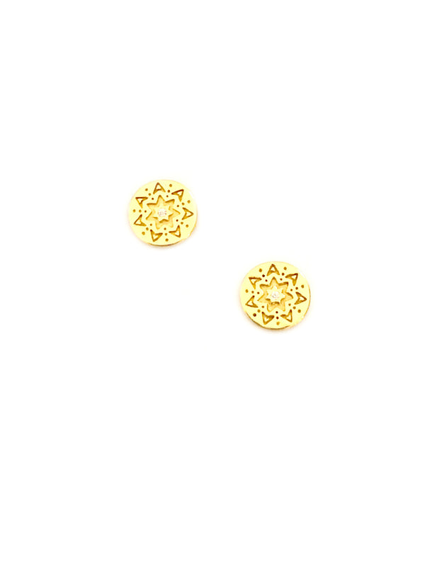Engraved Mandala Posts | Gold Vermeil Stud Earrings | Light Years