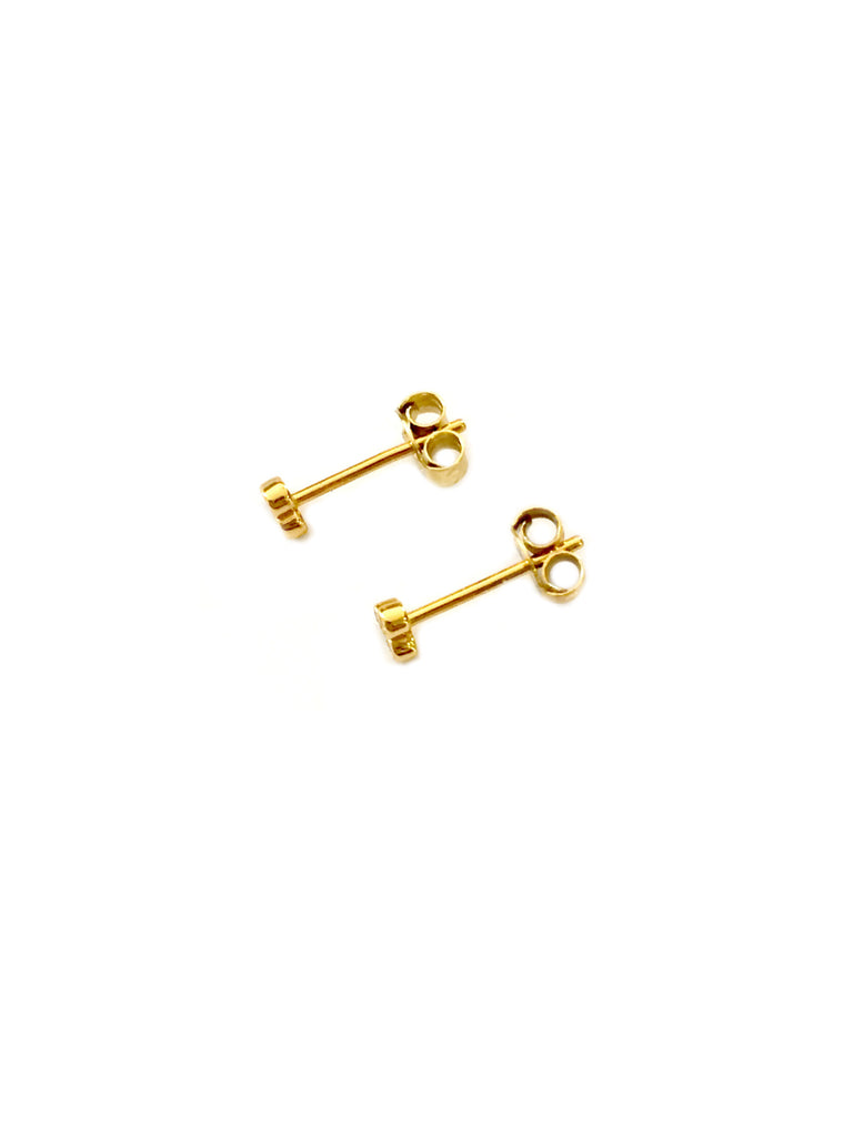 Triple CZ Posts | Gold Vermeil Studs Earrings | Light Years Jewelry