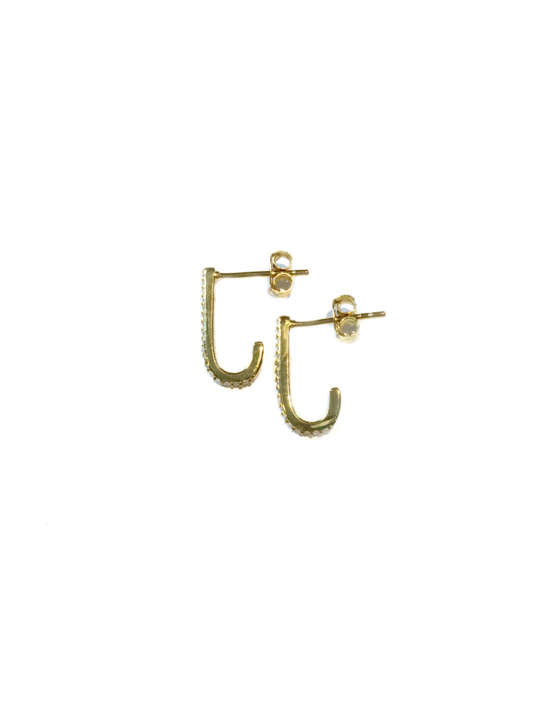 CZ Curved Posts | Sterling Silver Gold Vermeil Earrings | Light Years