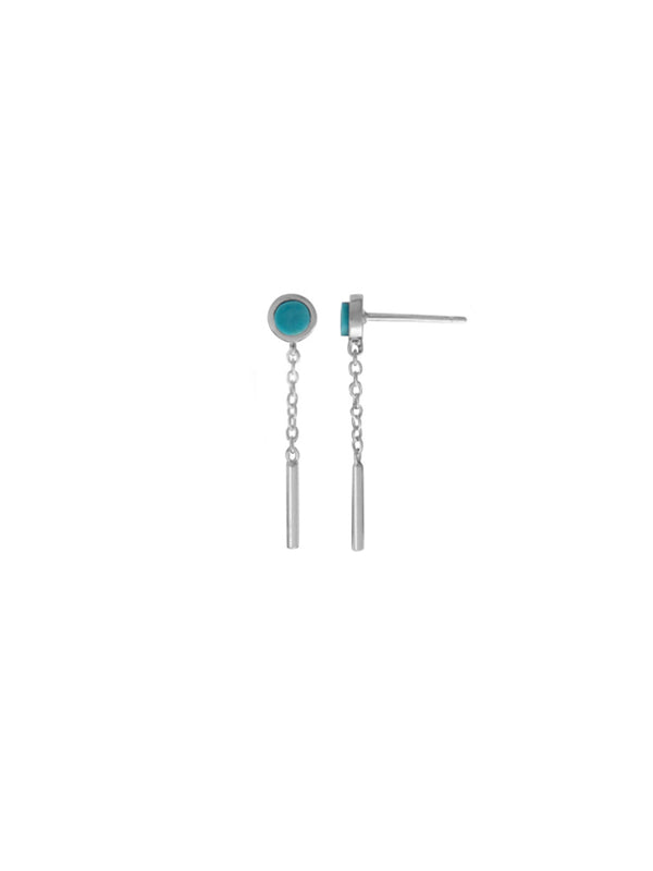 Modern Stone Chain Posts | Sterling Silver Studs Earrings | Light Years