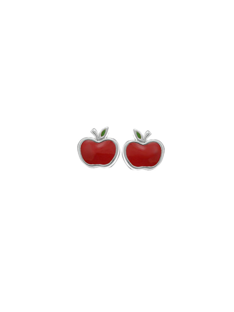 Enamel Red Apple Posts | Sterling Silver Studs Earrings | Light Years