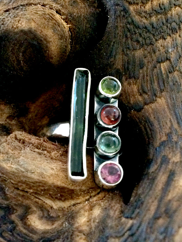 Raw Watermelon Tourmaline Ring | Sterling Silver Size 7 8 9 | Light Years