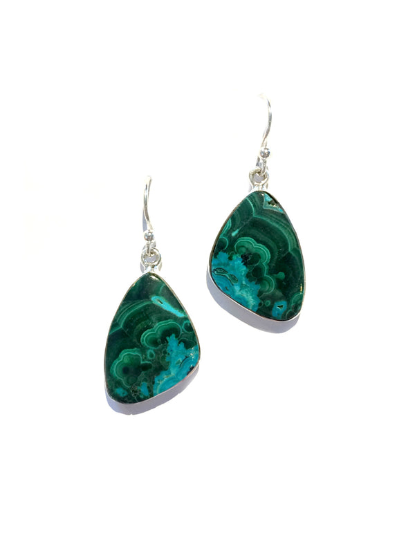 Azurite Malachite Dangles | Sterling Silver Earrings | Light Years