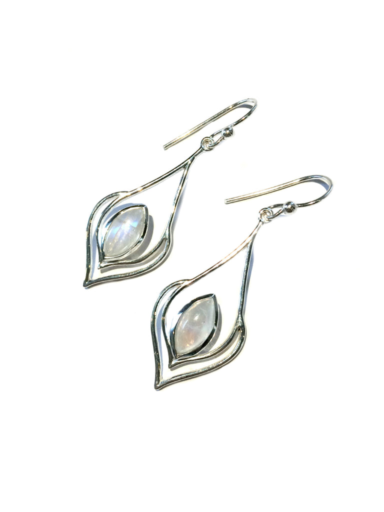 Moonstone Marquis Dangles | Sterling Silver Earrings | Light Years