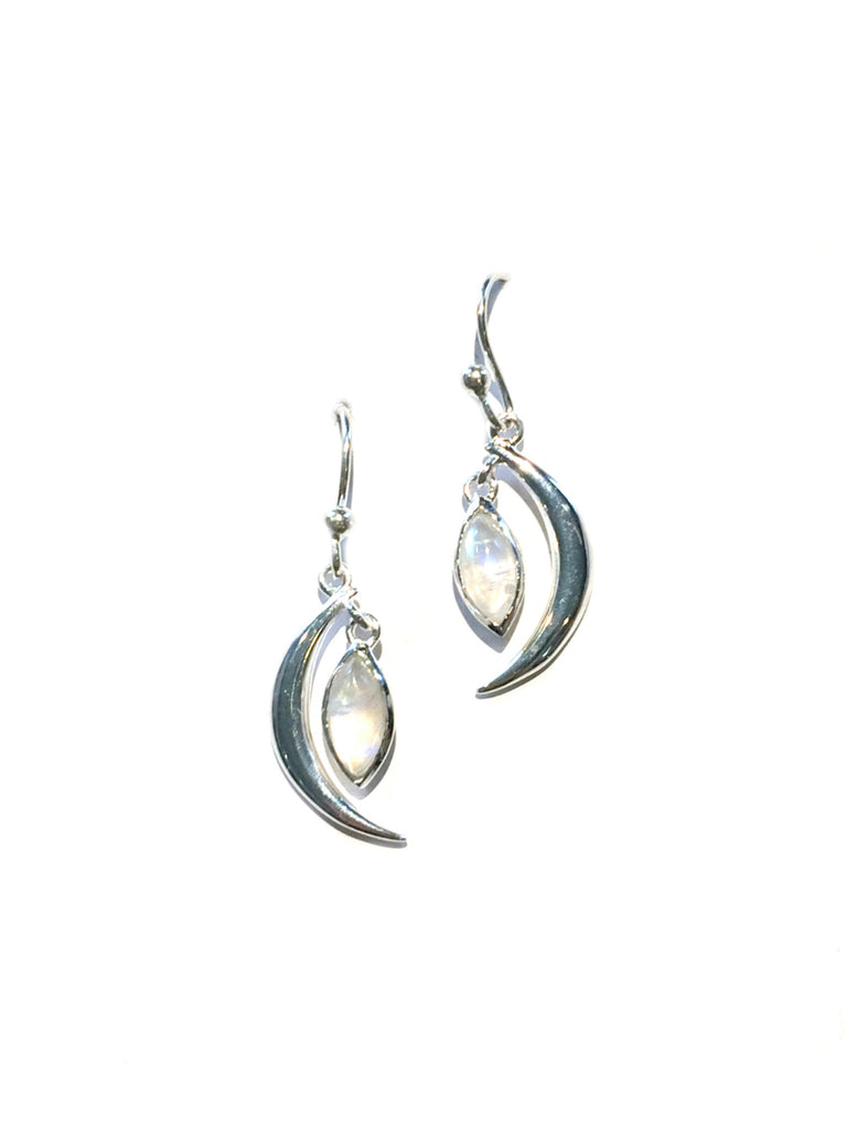Crescent Moonstone Dangles | Sterling Silver Earrings | Light Years