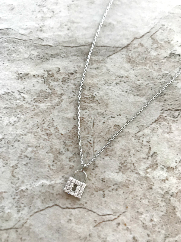 Clear CZ Padlock Necklace | Silver Plated Chain Pendant | Light Years
