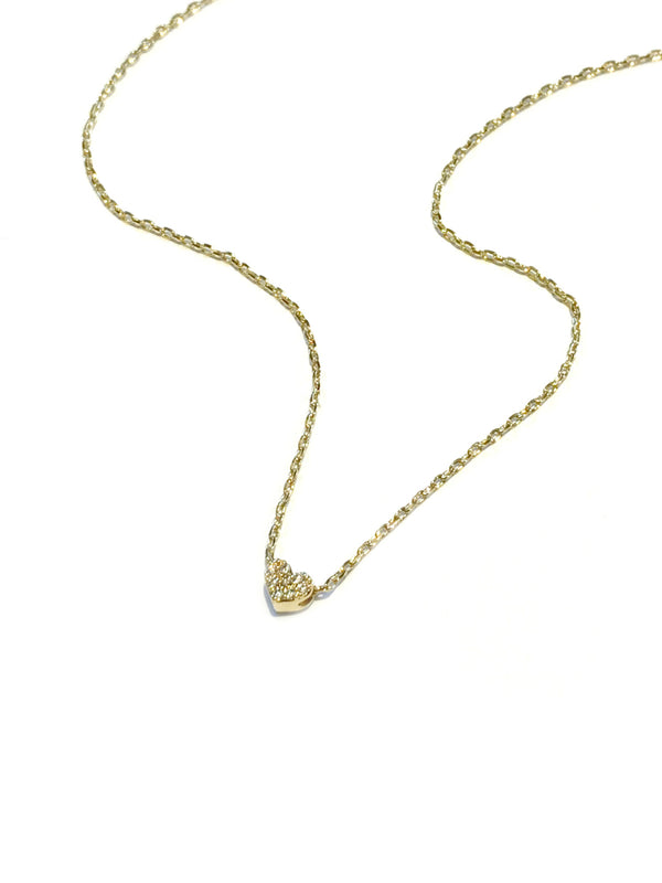 Dainty CZ Heart Necklace | Gold Plated Choker Chain | Light Years