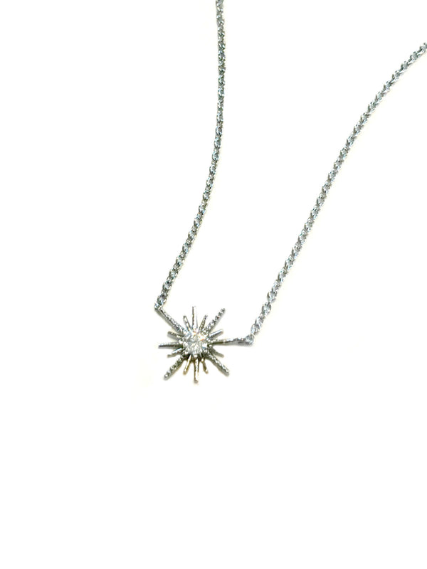 CZ Starburst Necklace | Silver White Gold Plated Choker | Light Years