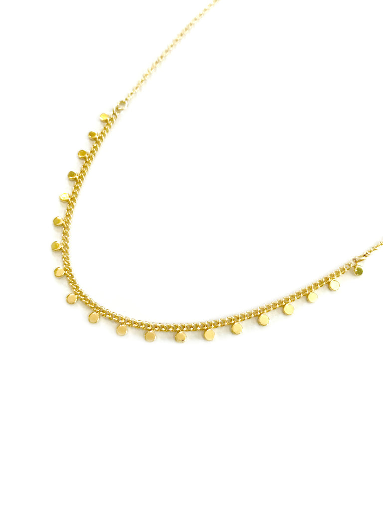 Dangling Dot Collar Necklace | Gold Plated Fashion Chain | Light Years