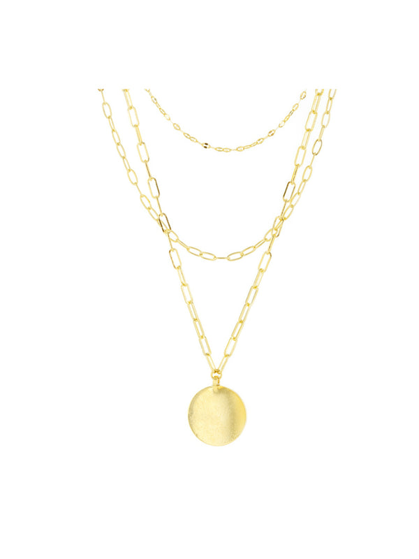Layered Medallion Necklace | Gold Plated Chain Pendant | Light Years